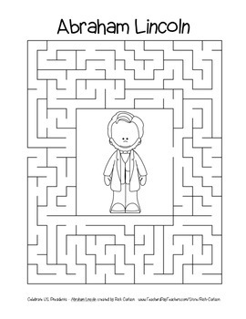 Celebrate U.S. Presidents – Abraham Lincoln - Search, Scramble,Maze! (blackline)