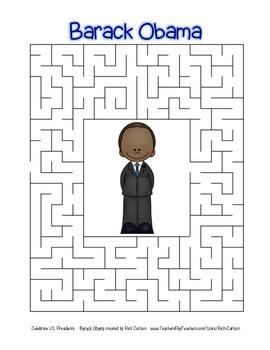 Celebrate U.S. Presidents – Barack Obama - Search, Scramble,Maze! (color&black)