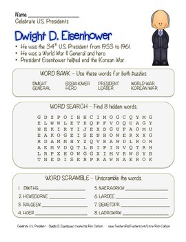 Celebrate U.S. Presidents – Dwight D. Eisenhower -Search, Scramble,Maze! (color)