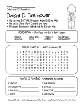 Celebrate U.S. Presidents - Dwight Eisenhower Search, Scramble,Maze! (blackline)