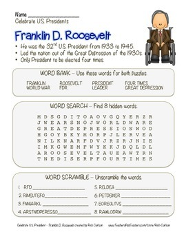 Celebrate U.S. Presidents – Franklin Roosevelt -Search, Scramble,Maze! (color)