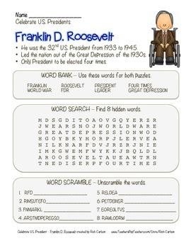 Celebrate U.S. Presidents Franklin Roosevelt - Search,Scramble,Maze(color&black)