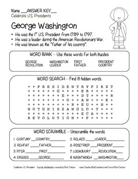 Celebrate U.S. Presidents – George Washington Search, Scramble, & Maze! (black)