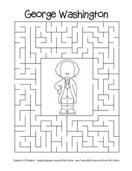Celebrate U.S. Presidents George Washington Search, Scramble,&Maze (color&black)