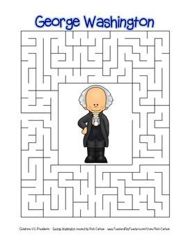 Celebrate U.S. Presidents - George Washington Search, Scramble, & Maze! (Color)