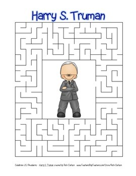 Celebrate U.S. Presidents – Harry S. Truman - Search, Scramble,Maze! (color)