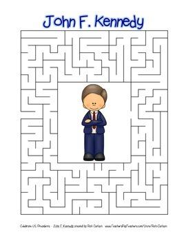 Celebrate U.S. Presidents – John F. Kennedy - Search, Scramble,Maze! (color)