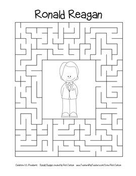 Celebrate U.S. Presidents – Ronald Reagan- Search, Scramble, Maze! (color&black)