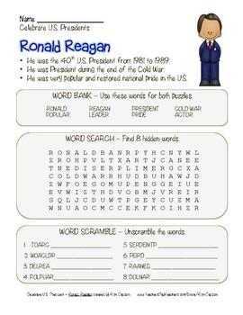 Celebrate U.S. Presidents – Ronald Reagan - Search, Scramb
