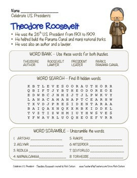 Celebrate U.S. Presidents – Theodore Roosevelt - Search, S