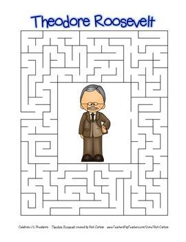 Celebrate U.S. Presidents Theodore Roosevelt Search, Scramble,Maze (color&black)