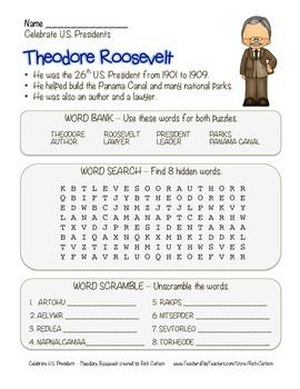 Celebrate U.S. Presidents Theodore Roosevelt Search, Scram