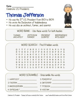 Celebrate U.S. Presidents – Thomas Jefferson - Search, Scramble, & Maze! (color)