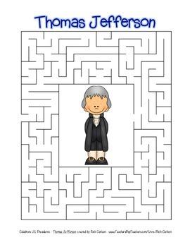 Celebrate U.S. Presidents Thomas Jefferson Search, Scramble,&Maze! (color&black)