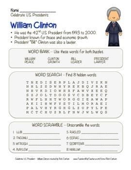 Celebrate U.S. Presidents – William Cinton - Search, Scramble,Maze! (color)