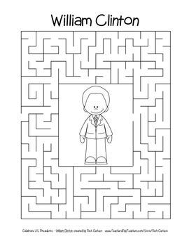 Celebrate U.S. Presidents – William Clinton - Search, Scramble,Maze! (blackline)