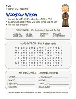 Celebrate U.S. Presidents – Woodrow Wilson Search, Scrambl