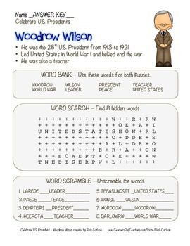 Celebrate U.S. Presidents – Woodrow Wilson - Search, Scramble,Maze! (color)
