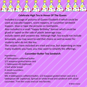 Celebrate With High Tea English Style, Tea Party, Fun Stuff, Substitute Plan