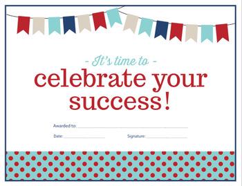 Celebrate Your Success Certificate - {Editable}