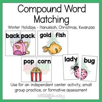 Winter Holidays Compound Word Matching Activity