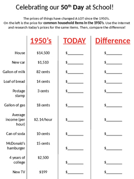 Celebrate the 50th Day of School (Upper Elementary Grades)