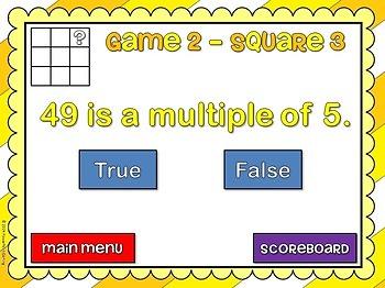 Freebie - Multiples Tic-Tac-Toe - PPT Game