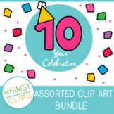 Celebrating 10 Years - Assorted Clip Art Bundle