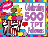 Celebrating 500 TPT Followers-FREE Alphabet Popcorn Activity