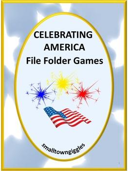 America Symbols File Folder Games Preschool, Kindergarten, Autism
