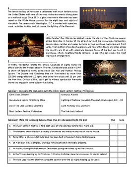 Celebrating Christmas Around The World - Reading Comprehension Worksheet / Text