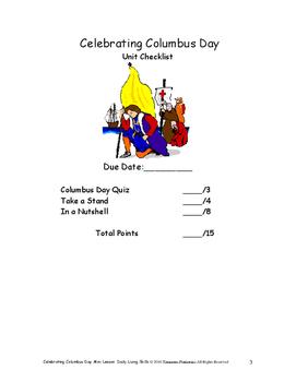 DLS Mini Lesson-Celebrating Columbus Day--Daily Living Skills