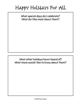 Celebrating Diversity: Happy Holidays For All Activity Sheets