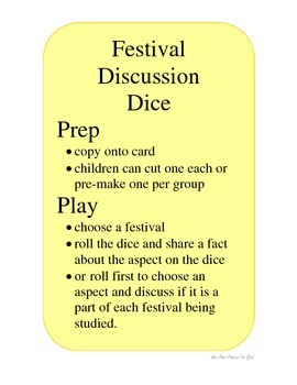 Celebrating Festivals Understanding The World EYFS Dice Game