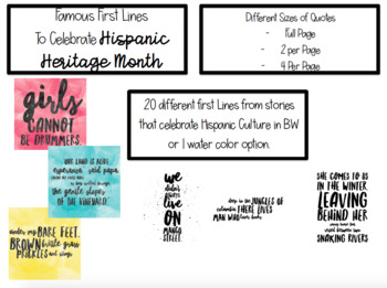 Celebrating Hispanic Culture- Famous First Lines