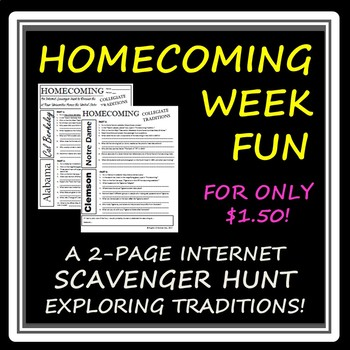 "Celebrating ""Homecoming Week"" -- An Internet Scavenger Hunt for High Schoolers!"