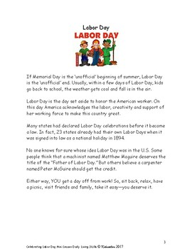Celebrating Labor Day Mini Lesson from Daily Living Skills