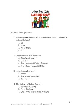 DLS Mini Lesson--Celebrating Labor Day Mini Lesson from Daily Living Skills