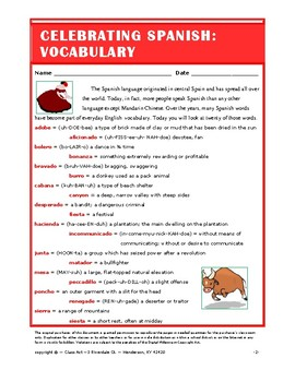 Vocabulary Activities: Common Spanish Words (4 Pages, Ans. Key, Grades 6+, $3)