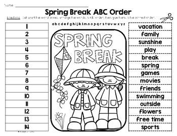 Celebrating SPRING BREAK {Writing, Reflection, Making Words, ABC Order & More}