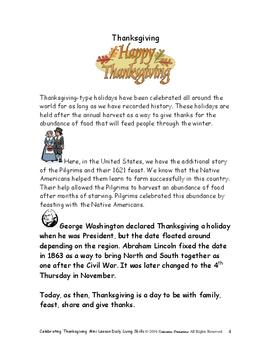 DLS Mini Lesson-Celebrating Thanksgiving Day