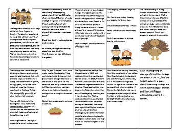 Celebrating Thanksgiving with word problems
