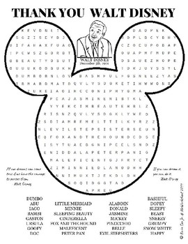 graphic about Disney Word Search Printable named Thank By yourself Walt Disney wordsearch Puzzle Worksheet by means of MrWorksheet