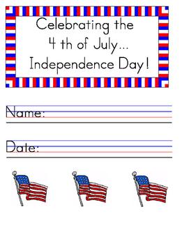 Celebrating the 4th of July Handwriting Worksheet Manuscript (Zaner-Bloser)