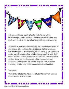 Celebrating the Positive--writing quick-checks
