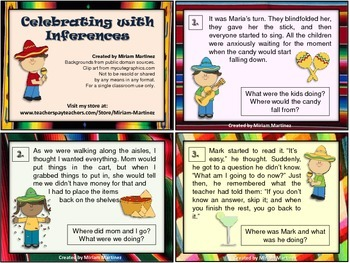 Celebrating with Inferences. Task Cards.