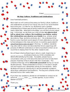Celebration Bag  (Part 3 of 3) Editable Information sheet and Rubrics