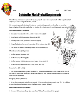 Celebration Mask: Project Requirements