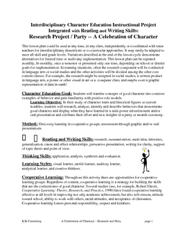Celebration of Character Research Project
