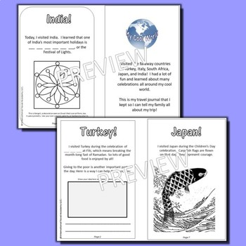 Celebrations Around the World! Printable Journal for 5 Countries